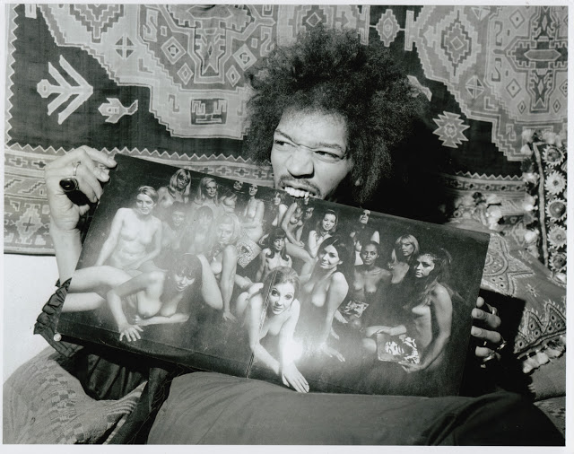 Jimi Hendrix with Electric Ladyland LP