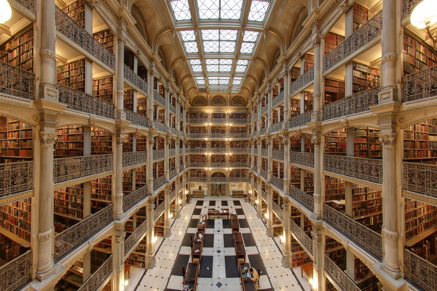 bibliotecas mais bonitas do mundo - George Peabody Library, Baltimore